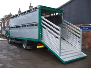 Plowman 2 Deck Rigid Livestock Float on MAN